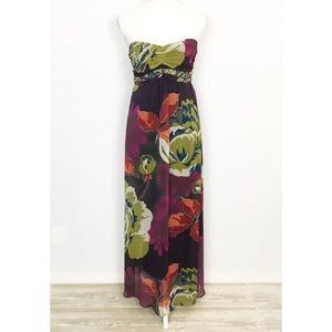 Fire Strapless Floral Tie Maxi